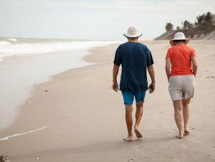 old, elderly, beach